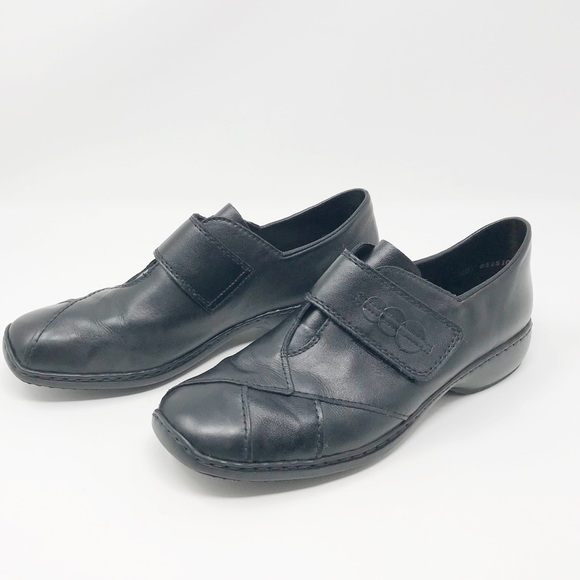 Rieker Antistress Black Leather Loafers Size 10